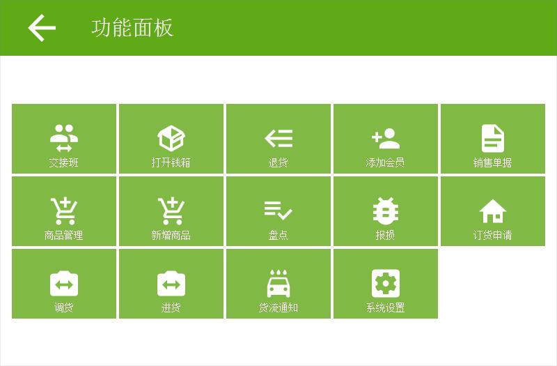 永联门店收银系统-功能面板